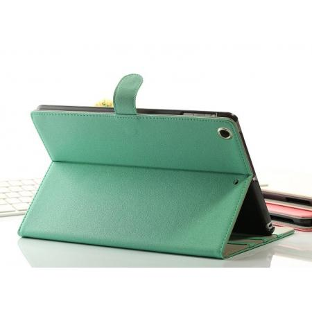 Magnetic Design Folio Leather Flip Stand Case for iPad Air - Green