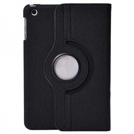 360 Degree Rotating Cowboy Grain Leather Stand Case for iPad Mini 2 Retina with Card Slots - Black