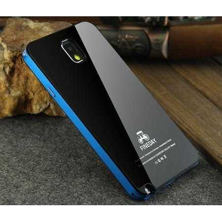 Aluminum Metal with Tempered glass Back Plate Cover Case for Samsung Galaxy Note 3 N9000 - Black&Blue