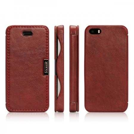 i-carer Vintage Series Genuine Leather Case for iPhone SE/5/5S - Red