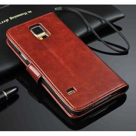 Crazy Horse Grain Leather Stand Case for Samsung Galaxy S5 with Card Holder - Brown