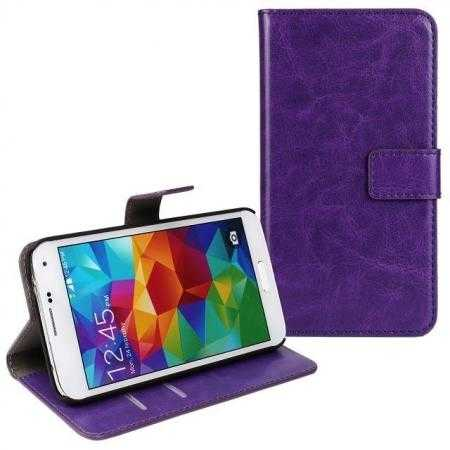 Crazy Horse Skin Wallet Flip Leather Case for Samsung Galaxy S5 - Purple