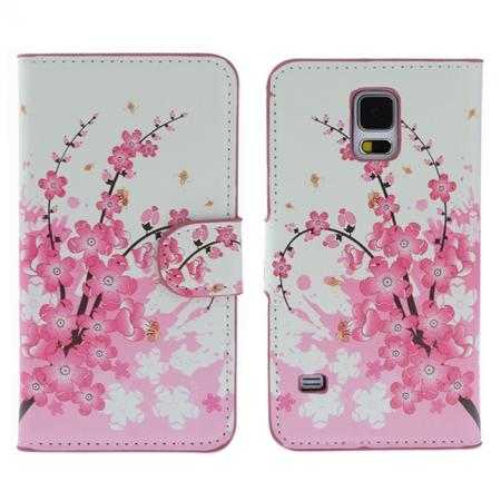 Pink Peach Blossom Pattern Wallet Style Stand Leather Case For Samsung Galaxy S5