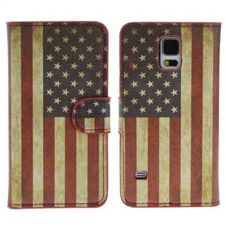 Retro Flag of USA Pattern Wallet Style Stand Leather Case For Samsung Galaxy S5