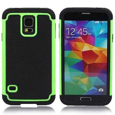 Rugged Impact Hybrid Hard Back Case Cover For Samsung Galaxy S5 - Green