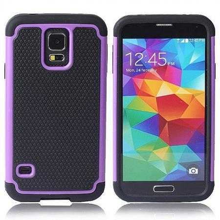 Rugged Impact Hybrid Hard Back Case Cover For Samsung Galaxy S5 - Purple