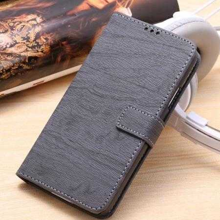 Wood Texture Leather Stand Case for Samsung Galaxy S5 with Credit Card Slots - Grey
