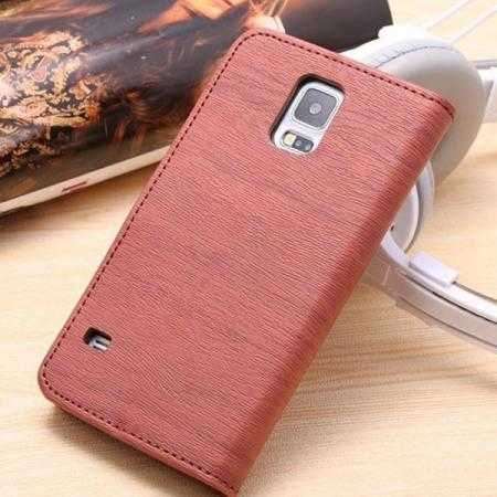 huge selection of 7ea5f bce45 Wood Texture Leather Stand Case for Samsung Galaxy S5 with Credit Card  Slots - Red Brown