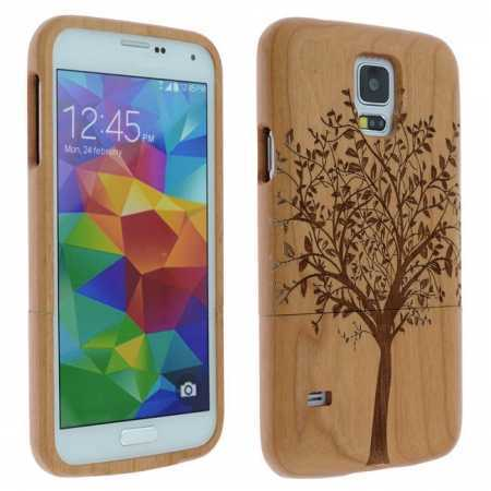 Big tree Natural Cherry Wood Wooden Hard Case Cover For Samsung Galaxy S5