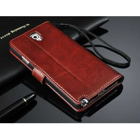High quality Crazy Horse Texture Wallet Leather flip Case for Samsung Galaxy Note3 Neo N7505 - Coffee