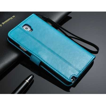 High quality Crazy Horse Texture Wallet Leather flip Case for Samsung Galaxy Note3 Neo N7505 - Blue