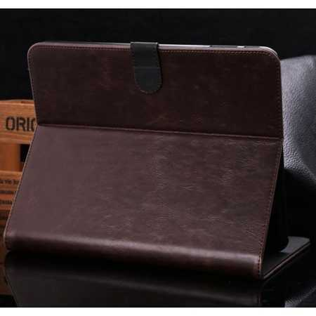 Luxury Crazy Horse Leather Stand Case for Samsung Galaxy Tab 4 10.1 T530 w/ Card Slots - Dark Brown