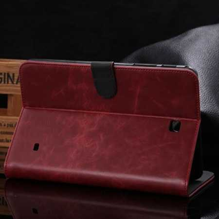 Luxury Crazy Horse Texture Leather Stand Case for Samsung Galaxy Tab 4 8.0 T330 with Card Slots - Wine Red