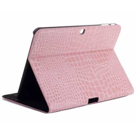 Crocodile Pattern Leather Stand Case for Samsung Galaxy Tab 4 10.1 T530 - Pink