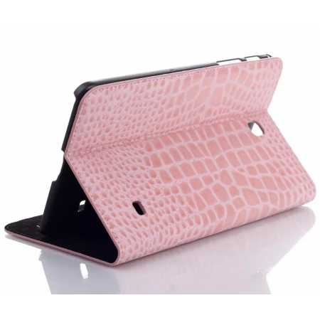 Crocodile Wallet Leather Case Cover With Stand For Samsung Galaxy TAB 4 8.0 T330 - Pink