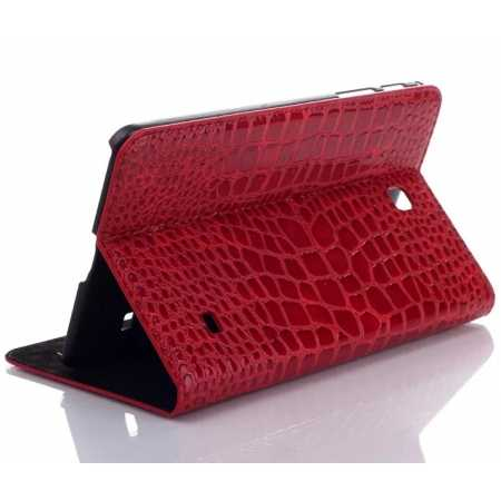 Crocodile Wallet Leather Case Cover With Stand For Samsung Galaxy TAB 4 8.0 T330 - Red
