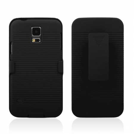 Hard Plastic Cover With belt clip holster and kickstand Combo Case for Samsung Galaxy S5 - Black