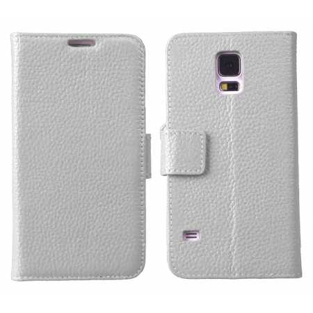 Luxury Genuine Real Leather Flip Case Wallet Stand Cover For Samsung Galaxy S5 - White