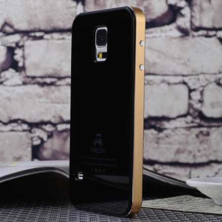 Aluminum Metal with Tempered glass Back Plate Cover Case for Samsung Galaxy S5 - Black&Champagne