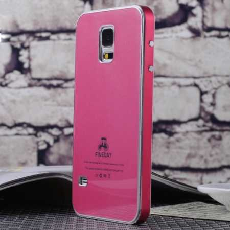 promo code 2f41f 3b11f Aluminum Metal with Tempered glass Back Plate Cover Case for Samsung Galaxy  S5 - Red