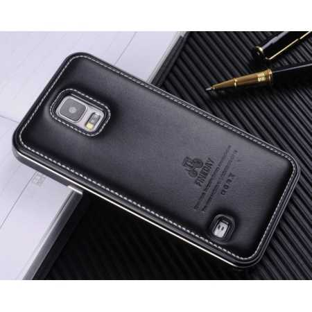 Deluxe All Metal Aluminum Case and Genuine Leather Protective back For Samsung Galaxy S5 - Black