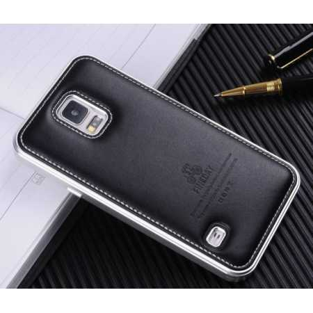 Deluxe All Metal Aluminum Case and Genuine Leather Protective back For Samsung Galaxy S5 - Silver&Black