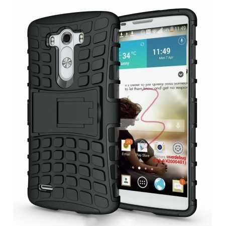 Heavy Duty Strong Hard TPU Case Cover Stand For LG G3 - Black