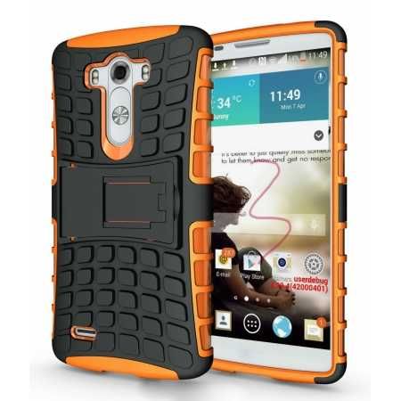 Heavy Duty Strong Hard TPU Case Cover Stand For LG G3 - Orange