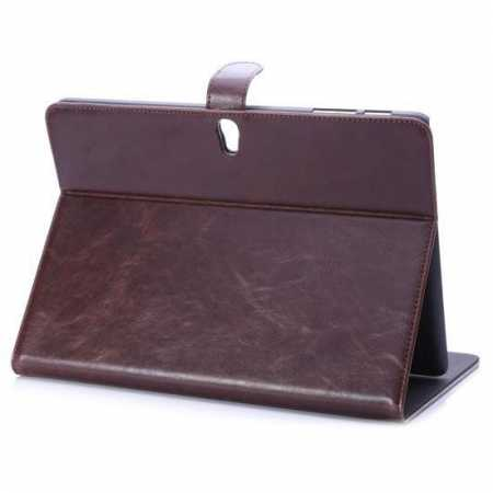 Luxury Crazy Horse Leather Stand Case for Samsung Galaxy Tab S 10.5 T800 w/ Card Slots - Dark Brown