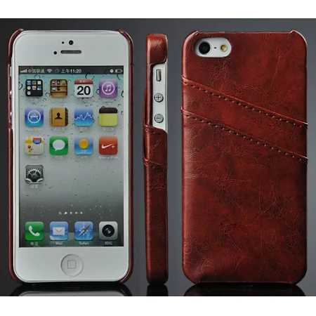 Oil Wax Style Insert Card Leather Back Case Cover for iPhone SE/5S/5 - Brown