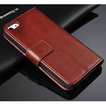 Crazy Horse Grain Leather Stand Case for iPhone SE/5s/5 with Card Holder - Brown