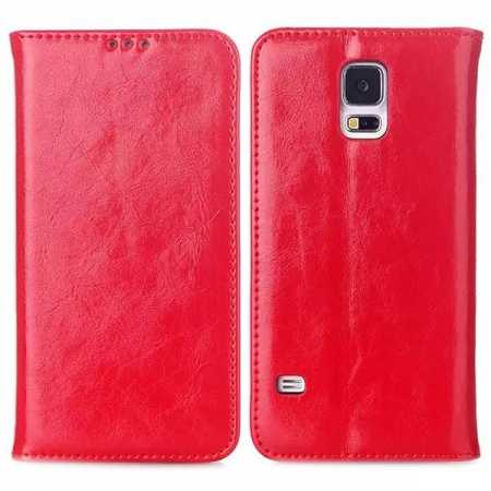 Crazy Horse Pattern Genuine Leather Stand Wallet Case for Samsung Galaxy S5 with Card Slot - Red