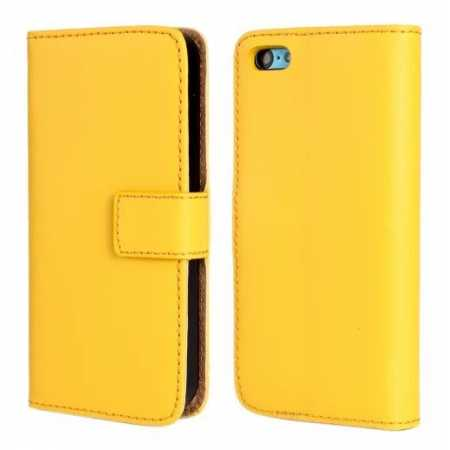 Genuine Leather Wallet Flip Case Cover For iPhone 5C - Yellow