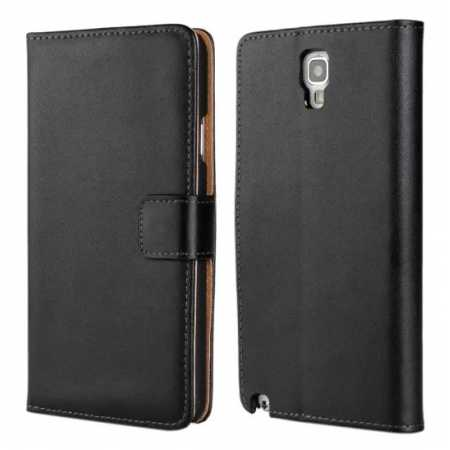 Genuine Leather Wallet Flip Case Cover For Samsung Galaxy Note 3 Neo N7505 - Black