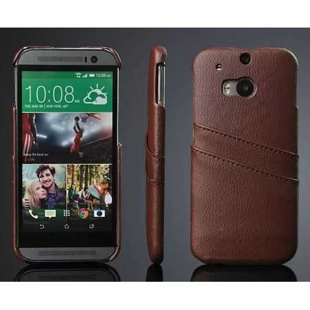 Litchi Genuine leather card holder hard back case cover for HTC One M8 - Brown