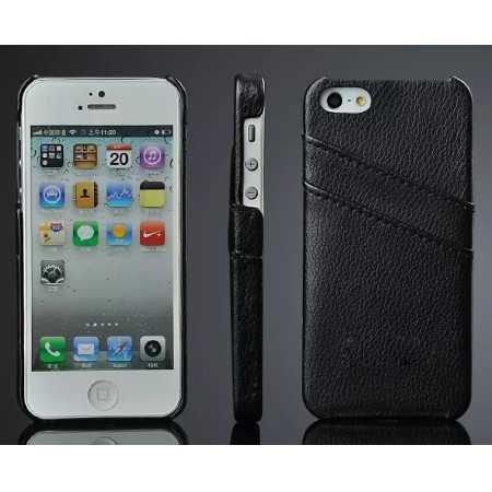Litchi Genuine leather card holder hard back case cover for iPhone SE/5S/5 - Black
