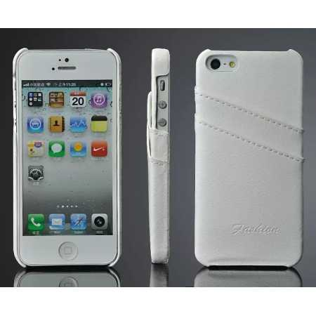 Litchi Genuine leather card holder hard back case cover for iPhone SE/5S/5 - White
