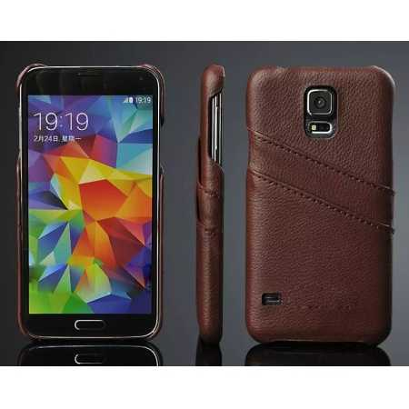 Litchi Genuine leather card holder hard back case cover for Samsung Galaxy S5 - Brown