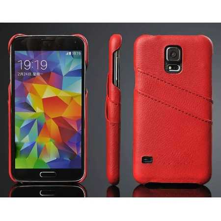 Litchi Genuine leather card holder hard back case cover for Samsung Galaxy S5 - Red