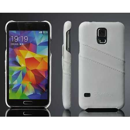 Litchi Genuine leather card holder hard back case cover for Samsung Galaxy S5 - White