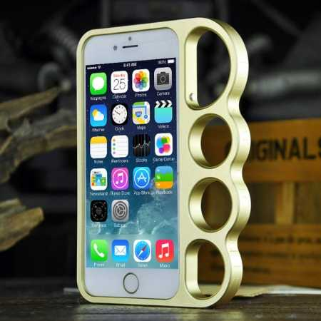 Aluminum Metal Knuckle Ring Bumper Case Frame Protector For iPhone 6/6S 4.7 Inch - Champagne
