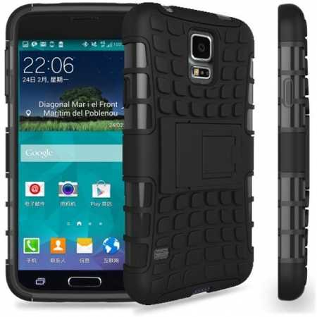 Heavy Duty Strong Hard TPU Case Cover Stand For Samsung Galaxy S5 Mini - Black
