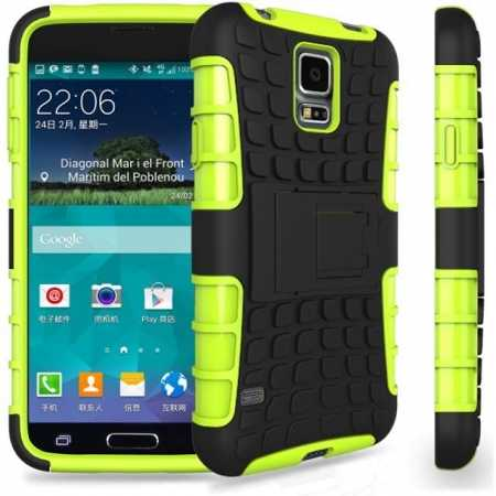 Heavy Duty Strong Hard TPU Case Cover Stand For Samsung Galaxy S5 Mini - Green