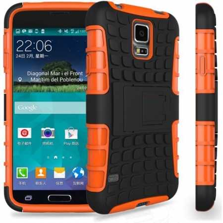 Heavy Duty Strong Hard TPU Case Cover Stand For Samsung Galaxy S5 Mini - Orange