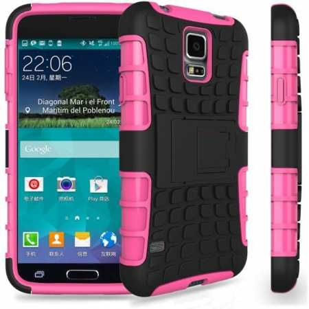 Heavy Duty Strong Hard TPU Case Cover Stand For Samsung Galaxy S5 Mini - Pink
