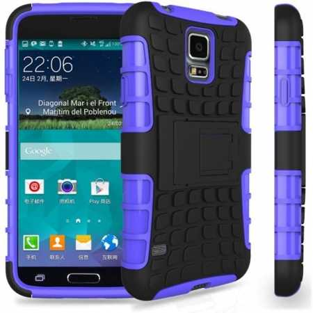 Heavy Duty Strong Hard TPU Case Cover Stand For Samsung Galaxy S5 Mini - Purple