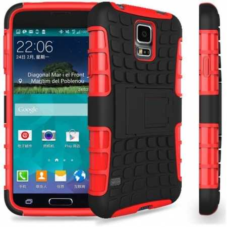 Heavy Duty Strong Hard TPU Case Cover Stand For Samsung Galaxy S5 Mini - Red