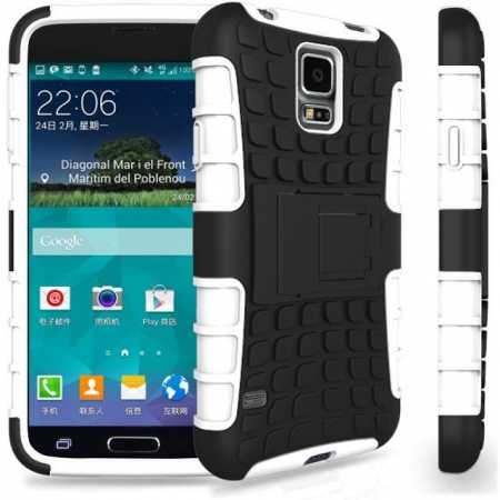 Heavy Duty Strong Hard TPU Case Cover Stand For Samsung Galaxy S5 Mini - White
