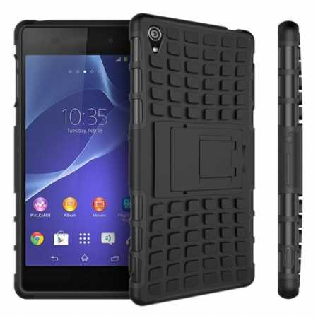 Heavy Duty Strong Hard TPU Case Cover Stand For Sony Xperia Z3 - Black