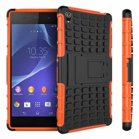 Heavy Duty Strong Hard TPU Case Cover Stand For Sony Xperia Z3 - Orange